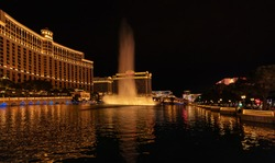 Dancing fountain in Las Vegas, incredibly beautiful water show, night city, the most colorful city in the USA
