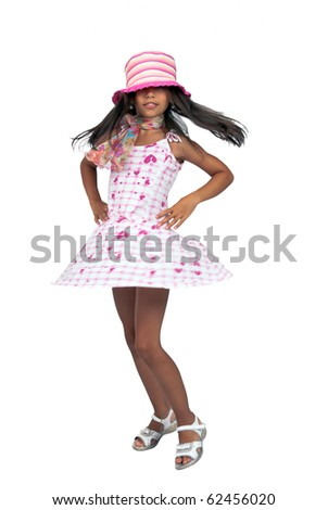 Dancing girl in full-length isolated on a white background