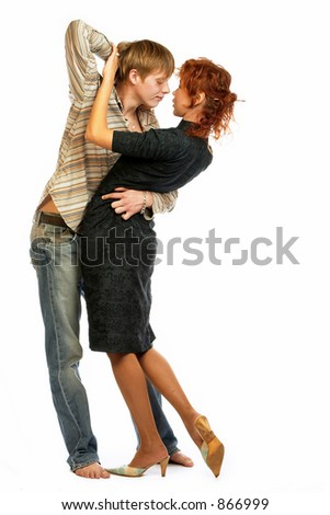 Dancing loving young couple, beautiful and happy.  The best image for Valentine's day design.