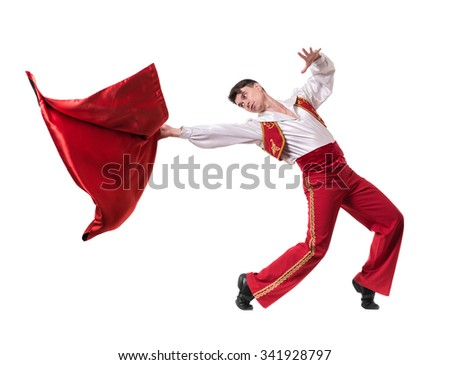 Dancing man wearing a toreador costume. Isolated on white background in full length. #341928797