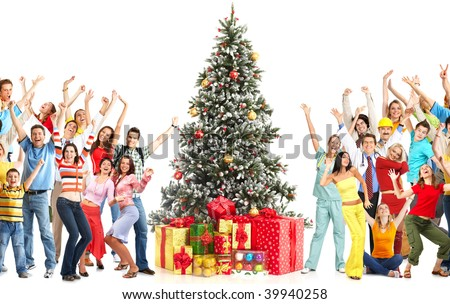 Dancing people  and Christmas Tree. Over white background