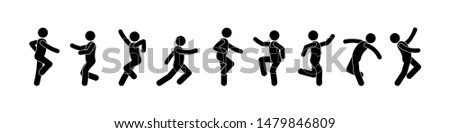 dancing people icon, pictogram dancers, isolated silhouettes, stick figure man