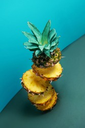 dancing pineapple in the air. perfect balance. a balanced diet. there is a free space for advertising.photos in motion with selective focus. a new concept for serving food photos. exclusive