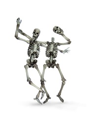 dancing skeleton removing the head skull Halloween party isolated on white background.