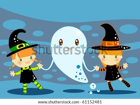 Stock Photo dancing witches with ghost