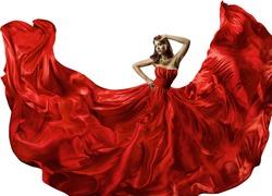 Dancing Woman in Red Dress, Fashion Model Dance in Silk Ball Gown, Waving Flowing Fabric