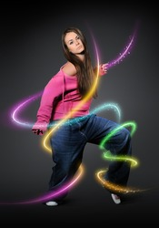 Dancing young girl with color lines effect