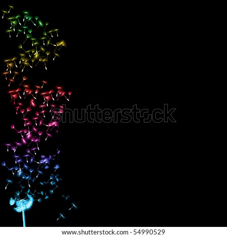 dandelion blowing upwards to make a nice colourful border - stock photo