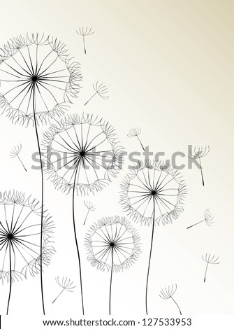 Dandelions card. Raster version, vector file available in portfolio.