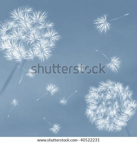 Dandelions in the wind, desktop background