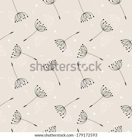 dandelions seamless pattern. Raster.