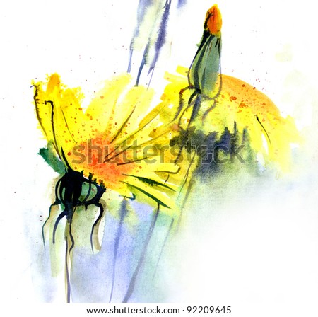 Dandelions. Watercolor.