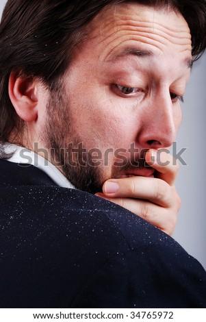 Dandruff issue on man's sholder - stock photo