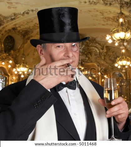 Dandy figure with bow-tie, top hat and a monocle