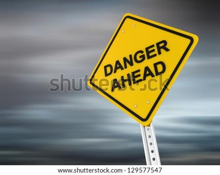 danger ahead , computer generated image. 3d render.
