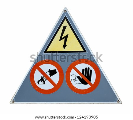 danger and attention sign on white background