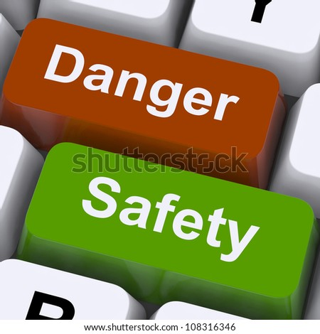 Danger And Safety Keys Showing Caution And Hazards
