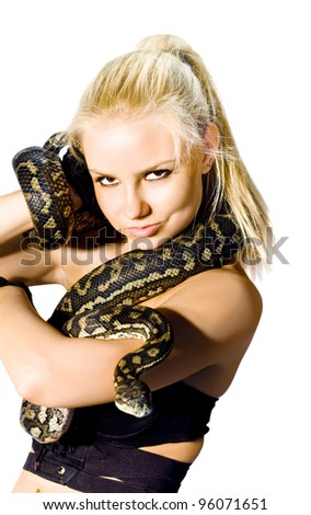 Danger, Caution And Concern Slither Along A Gorgeous Blond Womans Arm While Holding A Python Snake, Studio Photo Isolated On White Background