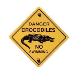 Danger Crocodiles No Swimming Sign Plate Isolated on a White Background.