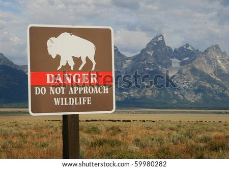 danger do not approach wildlife sign with bison herd and theTeton mountains in the background, Grand Teton National Park, Wyoming