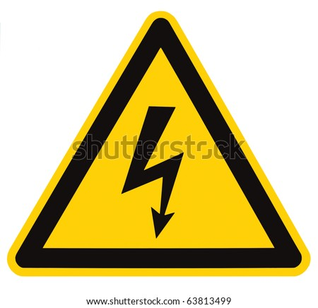 Danger Electrical Hazard High Voltage Sign Isolated, black triangle over yellow, large macro