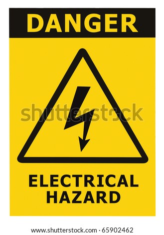 Danger Electrical Hazard Triangle Sign With Text, Isolated