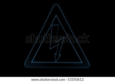 danger electricity sign 3D xray blue transparent