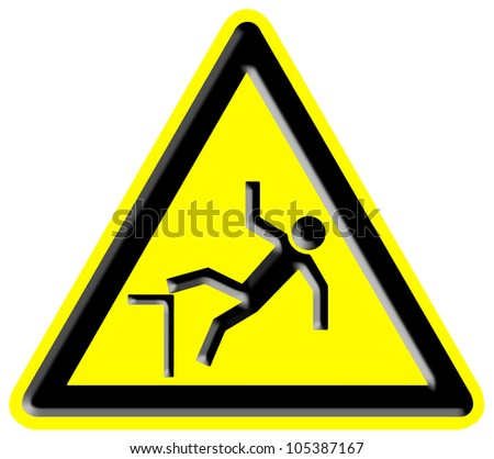 Danger falling from heights sign