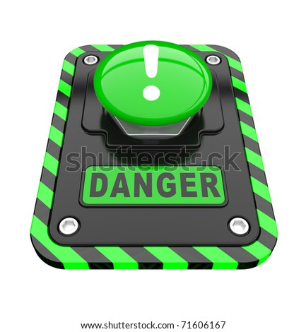 Danger, green help button  on a white background