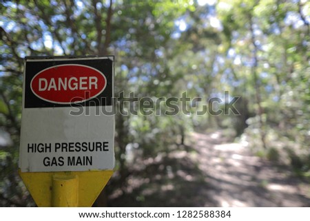Danger high pressure gas main sign #1282588384