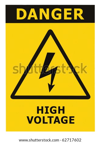 Danger High Voltage Sign, Isolated