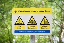 Danger no swimming sign deep water at Loch Lomond