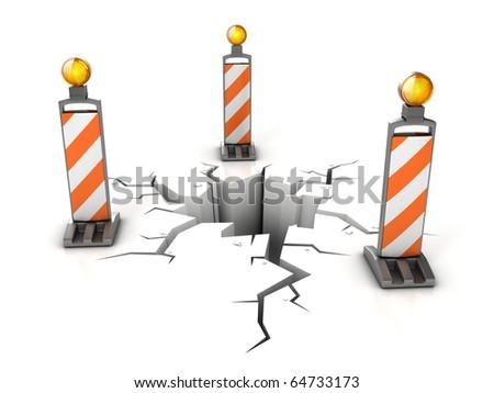 danger on the road 3d illustration - stock photo