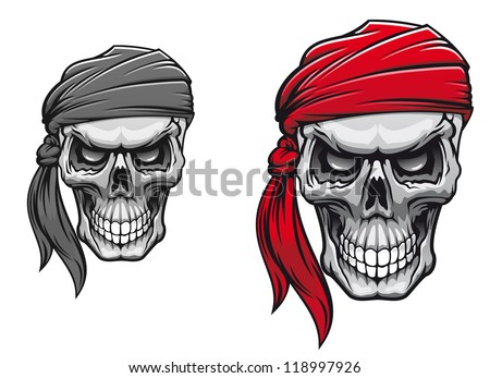 Danger pirate skull in bandane for tattoo or t-shirt design. Vector version also available in gallery