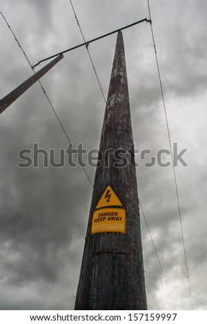 danger power line grey skies #157159997