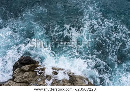 danger sea wave crashing on...