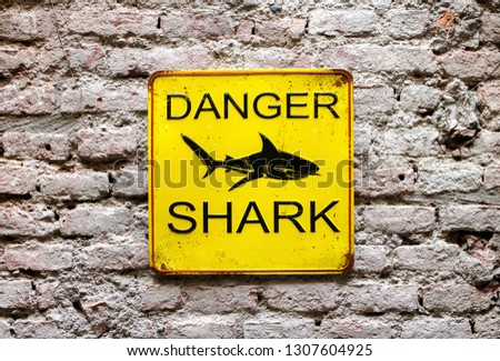 Danger Shark yellow warning sign on an old brick wall with a picture of a shark and text in a close up view