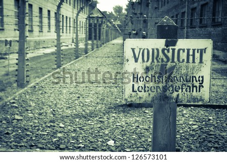 Danger sign Auschwitz