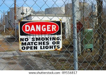 Danger Sign Outside of Old Chemical Plant