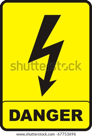 danger sign with black color and yellow background