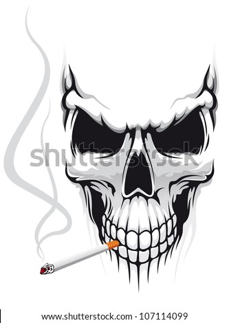 Danger skull smoke a cigarette for t-shirt design, such logo. Vector version also available in gallery