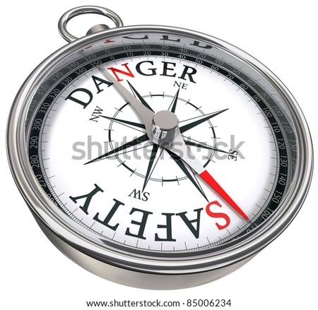 danger vs safety opposite ways conceptual image with compass isolated on white background