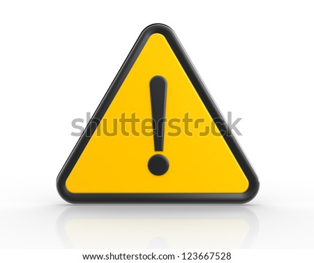Danger warning sign. 3d render exclamation mark