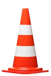 Danger warning, traffic cone isolated on white background