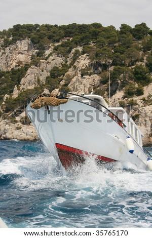 dangerous boat trip, little boat on stormy sea, \