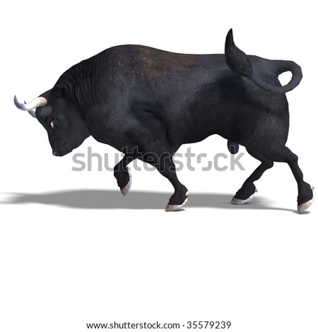 dangerous bull with beaked horns. 3D render with clipping path and shadow over white