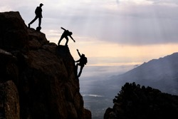 dangerous climbing, friend support and mountaineering