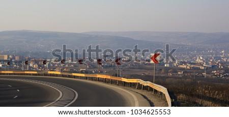Dangerous curve, curve, road curve #1034625553