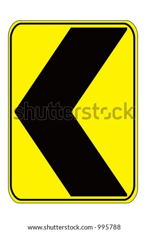 Dangerous Curve Left sign isolated on a white background