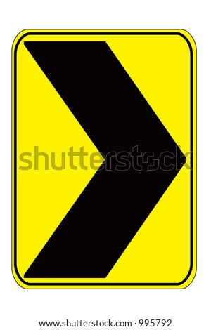 Dangerous Curve right sign isolated on a white background